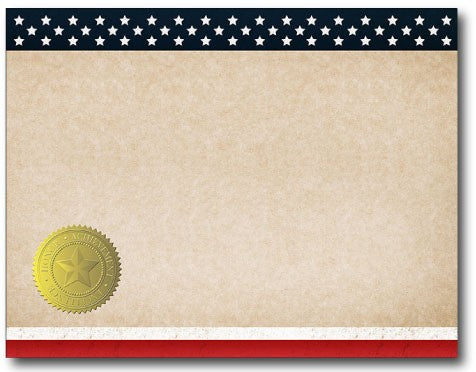 patriotic stationery certificate seal stars stripes