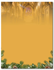 "50lb Christmas Cathedral Letterhead, measure(8 1/2"" x 11""), compatible with inkjet and laser"