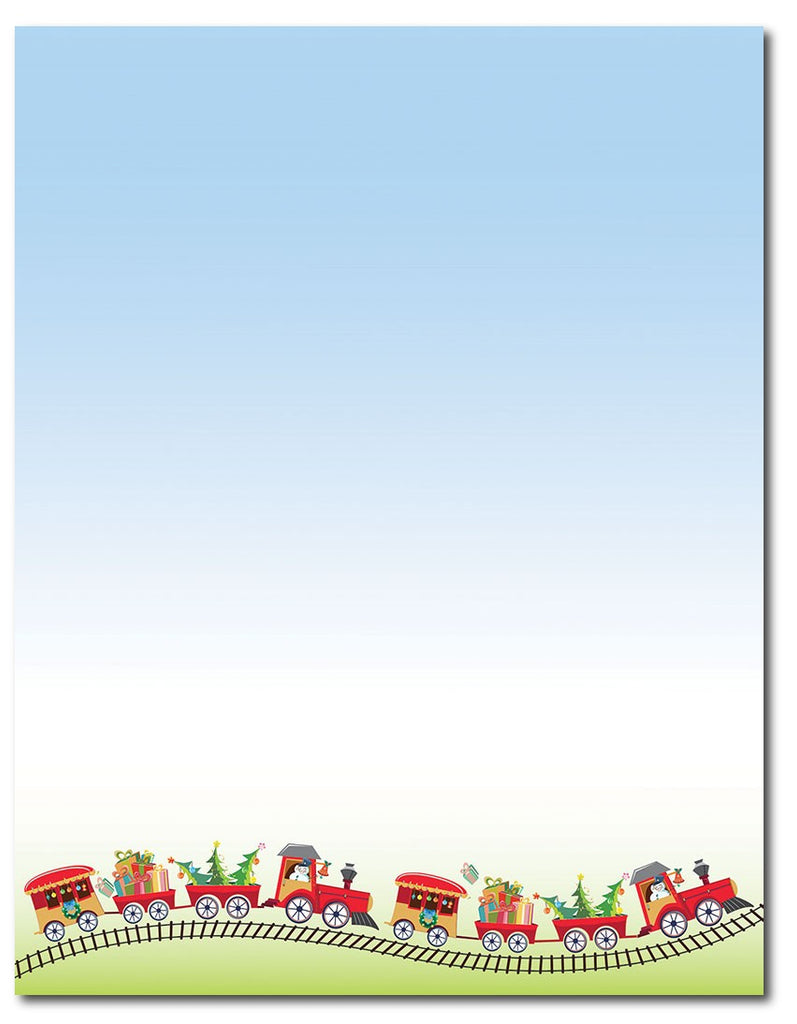 "50lb Holiday Train Letterhead, measure(8 1/2"" x 11""), compatible with inkjet and laser"