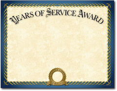 "Gold foil years of service Award Certificates 8 1/2"" x 11"" 60lb cover inkjet & laser printer compatible"