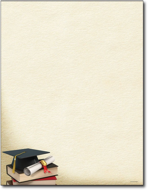"Grad Corner graduation Letterhead, measure(8 1/2"" x 11""), compatible with inkjet and laser, 50lb text paper"