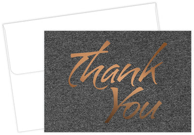 suit copper foil thank you note cards and envelopes