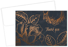 copper foil flower thank you note cards and envelopes