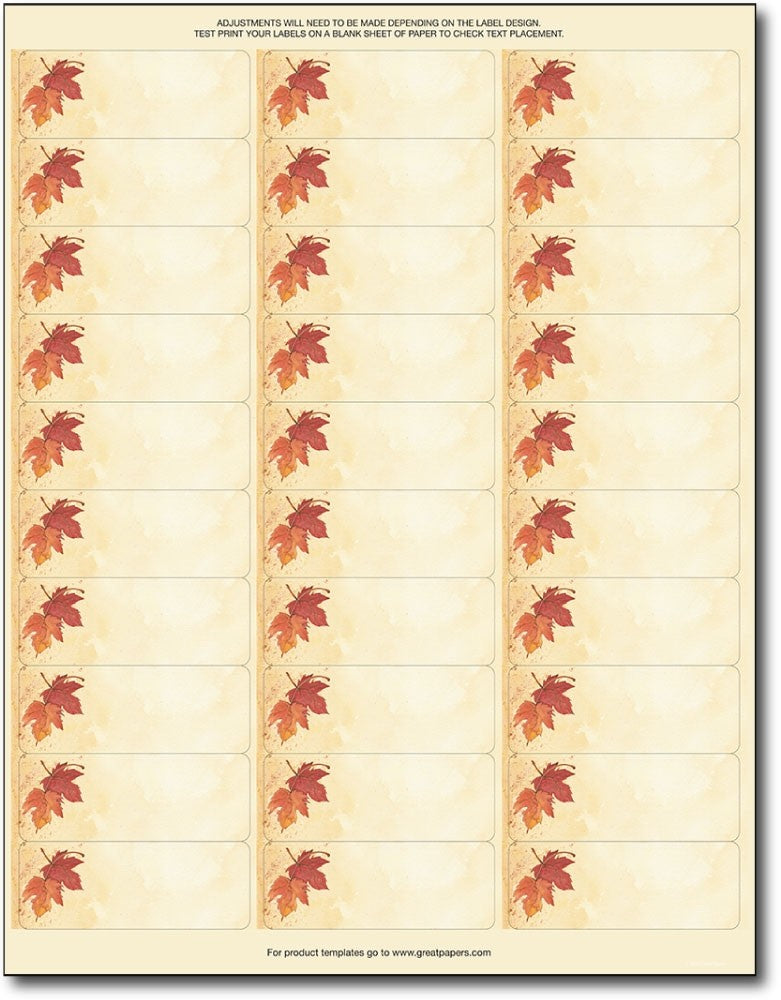 fall leaves address labels autumn thanksgiving halloween envelopes labels