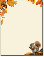 "50lb acorn squirrel Fall Autumn Letterhead, measure(8 1/2"" x 11""), compatible with inkjet and laser"