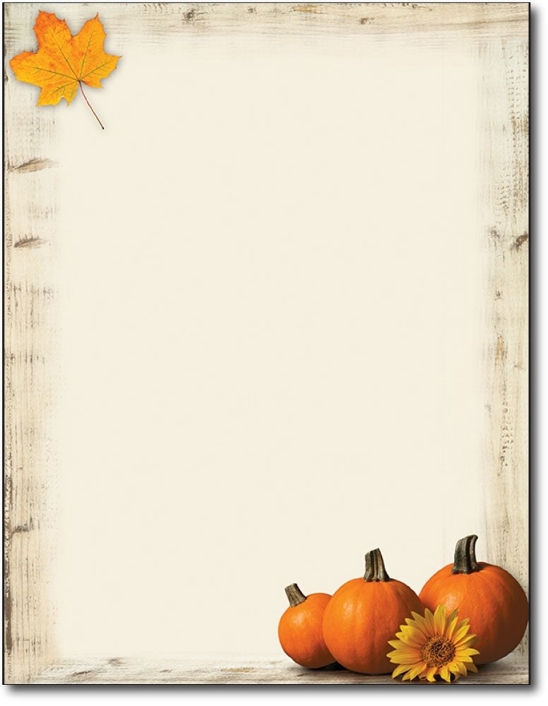 "50lb Pumpkin Sunflower Fall Autumn Letterhead, measure(8 1/2"" x 11""), compatible with inkjet and laser"