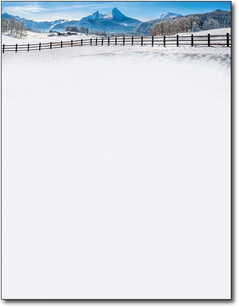"mountain winter snowy hill field christmas holiday paper Letterhead, measure(8 1/2"" x 11""), compatible with inkjet and laser"