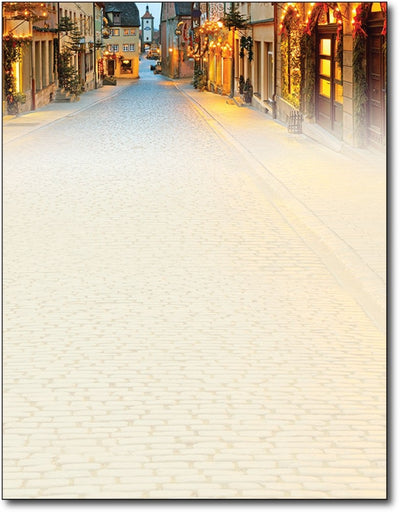 "street cobblestone christmas holiday paper Letterhead, measure(8 1/2"" x 11""), compatible with inkjet and laser"
