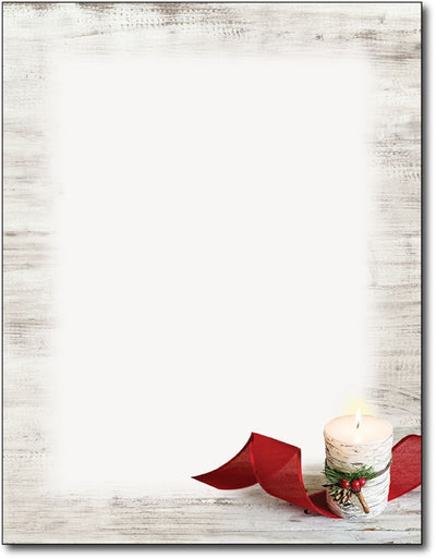 "candle lit red ribbon  christmas holiday paper Letterhead, measure(8 1/2"" x 11""), compatible with inkjet and laser"