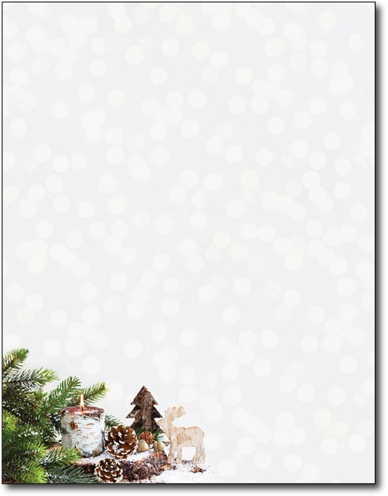 "pine branch wood candle christmas holiday paper Letterhead, measure(8 1/2"" x 11""), compatible with inkjet and laser"