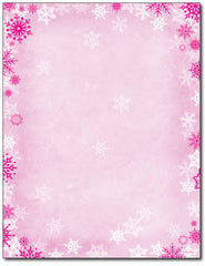 Pink Snowflake Foil Stationery