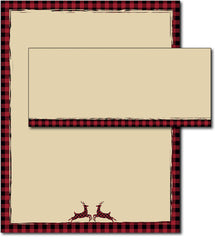 Buffalo Plaid Reindeer Holiday Stationery & Envelopes