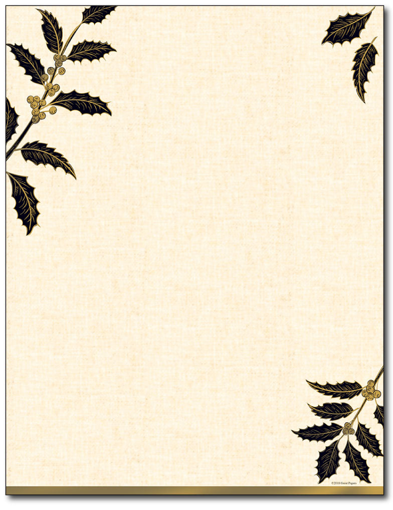 Golden Metallic Holly Letterhead