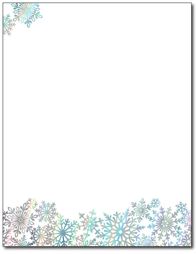 Rainbow Foil Snowflake Stationery