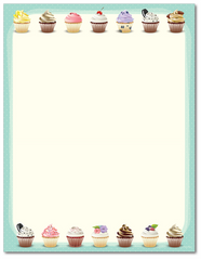 Food Letterhead - Iced Cupcake Celebration - 60lb Text