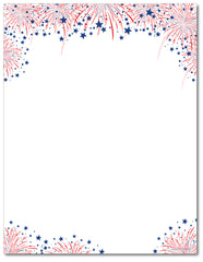 Patriotic Stationery - Fireworks on the 4th - 60lb Text