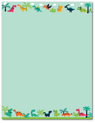 Playtime Letterhead - Happy Dinosaur - 60lb Text
