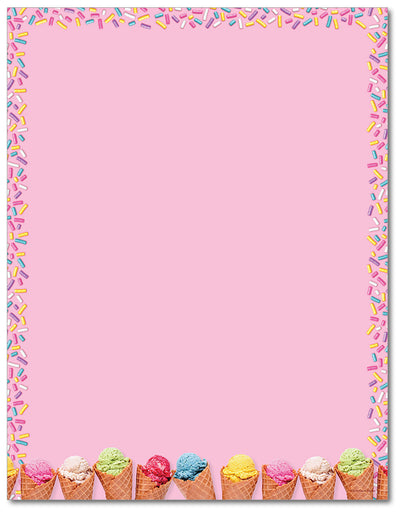 Food Letterhead - Ice Cream Scoops - 60lb Text