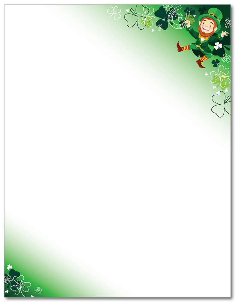 St. Patrick's Day Letterhead - Happy Leprechaun - 60lb Text