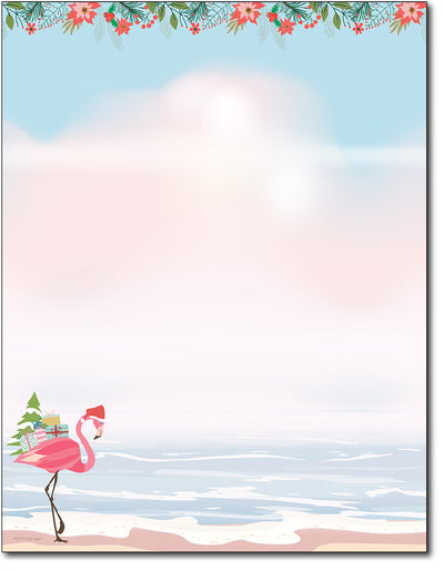 Holiday Stationery - Merry Flamingo - 80 Sheets