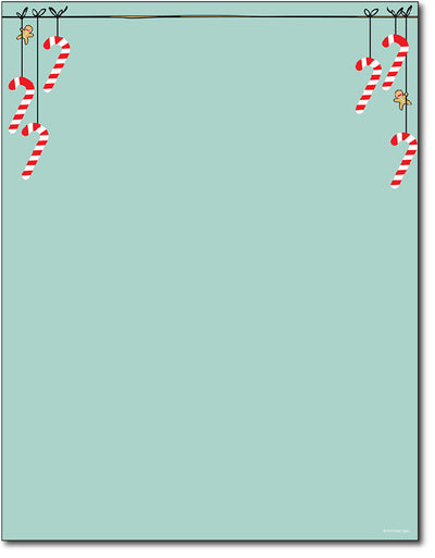 Holiday Letterhead - Minty Candy Cane - 80 Sheets