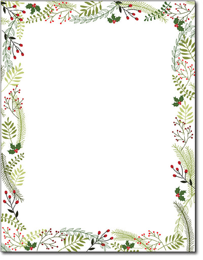 Holiday Stationery - Merry Twigs & Holly - 80 Sheets