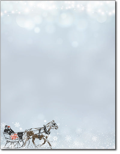 Holiday Stationery - Vintage Sleigh Ride - 80 Sheets