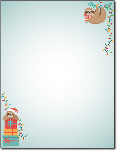 Christmas Stationery - Sloth Holiday - 80 Sheets