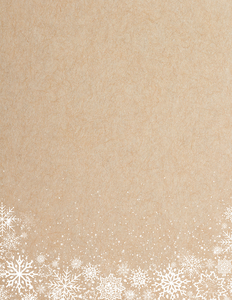 Holiday Letterhead - White Snowflakes - 80 Sheets