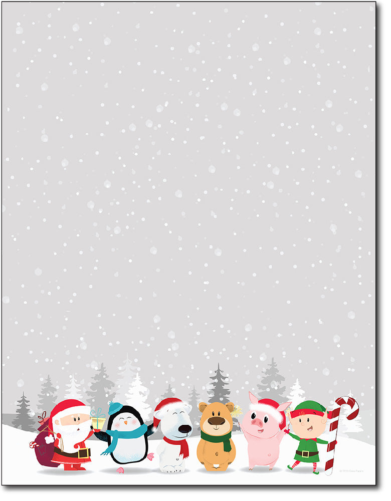 Holiday Letterhead - Winter Friends - 80 Sheets