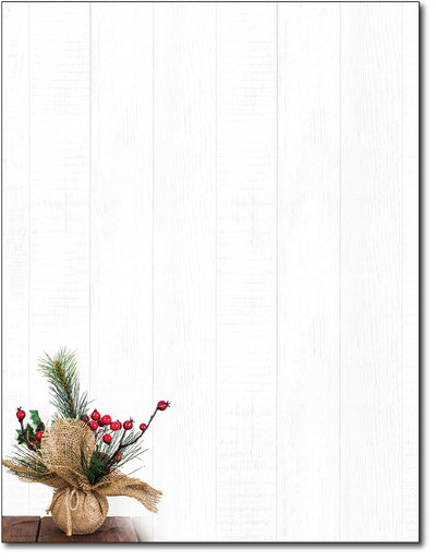 Christmas Stationery - Burlap & Berries - 80 Sheets