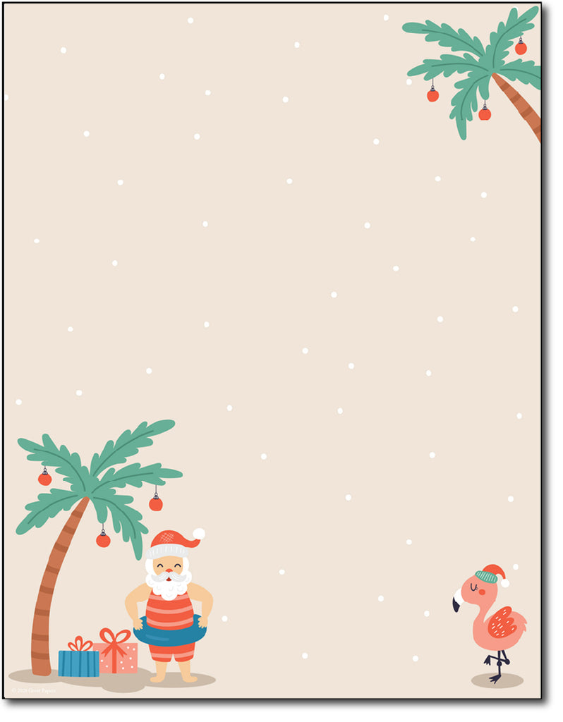 Christmas Stationary - 24LB Bond / Matte (Tropical Santa)
