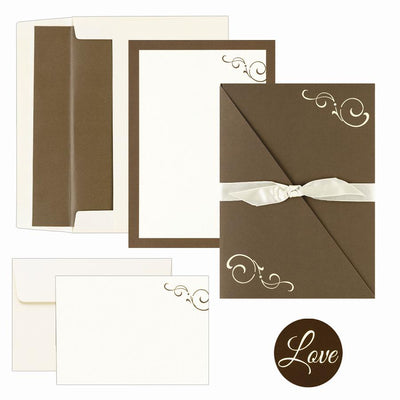 "65 lb Brown Swirl Folder Invitation And Note Card Kit, measure(8 1/2"" x 11""), compatible with inkjet and laser, matte both sides"