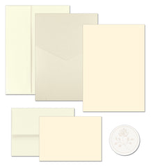 "65 lb Pearl Shimmer Pocket Invitation And Note Card Kit, measure(5.5"" x 7.75""), compatible with inkjet and laser, matte both sides"
