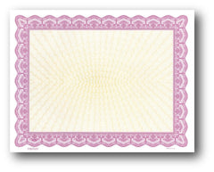 "24lb certificate features a gold burst in the background measure 8 1/2"" x 11"" with a Magenta Border."