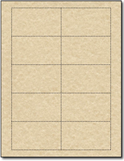 65lb Microperforated  Brown Parchment Business Cards - printable on both sides