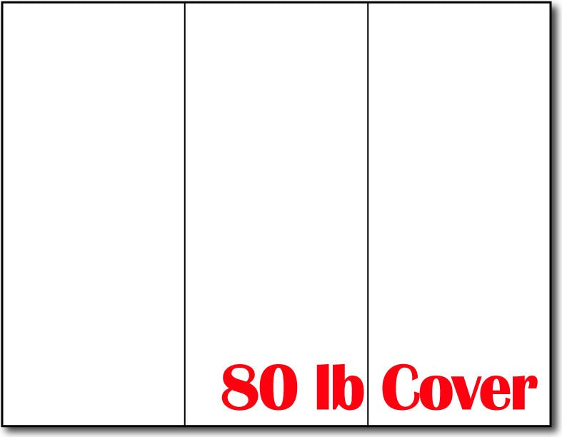 "80lb Heavyweight White Brochure Paper measure 8 1/2"" x 11"", Matte both sides."