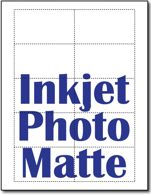 "90lb Microperforated Inkjet Photo Matte Business Cards measure 8 1/2"" x 11""."