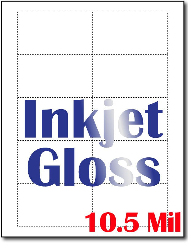"10.5 mil Inkjet Gloss Folding Business card  , measure(8 1/2"" x 11""), compatible with inkjet, full gloss"