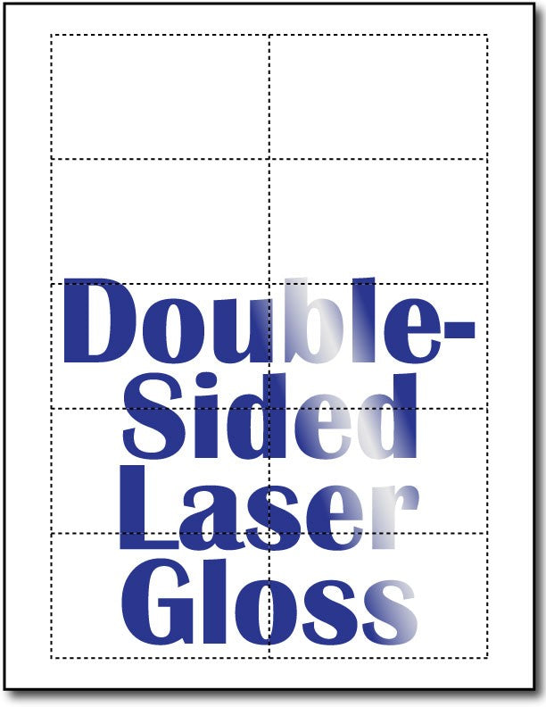 "80lb Microperforated  Double Sided Laser Gloss Business Cards measure 3 1/2"" x 2""."