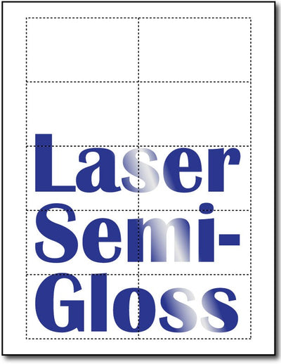 "80lb Microperforated Laser Semi-Gloss Business Cards measure 3 1/2"" x 2""."