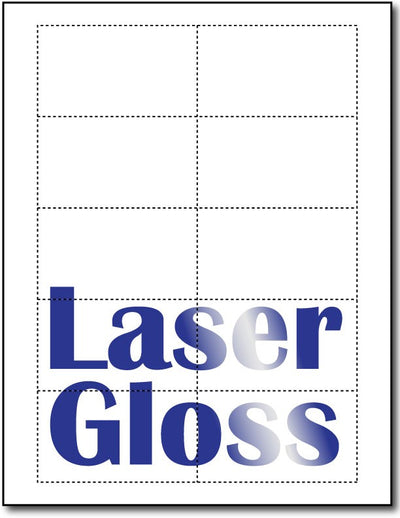 "80lb Microperforated Laser Gloss Business Cards measure 3 1/2"" x 2""."