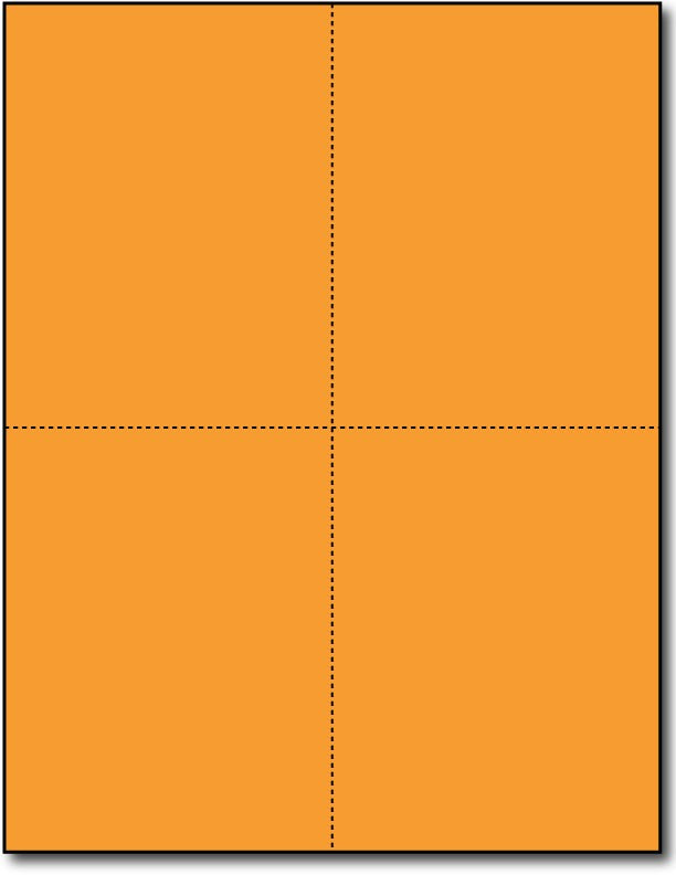 "Brigtht Orange 4-Up Postcards, measure (4 1/4"" x 5 1/2"") , compatible  with copier, Inkjet and laser, Matte Both sides"