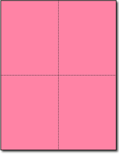 "4 Microperforated Pink Postcards on an 8 1/2"" x 11"" Sheet."