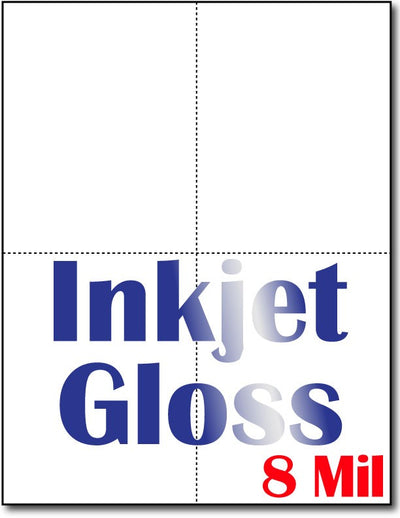 "8 mil Inkjet 4-Up Postcards, measure (4 1/4"" x 5 1/2"") , compatible  with inkjet, Full Gloss"