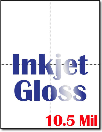 "10.5 mil Inkjet - 4 postcard  , measure(8 1/2"" x 11""), compatible with inkjet, full gloss"