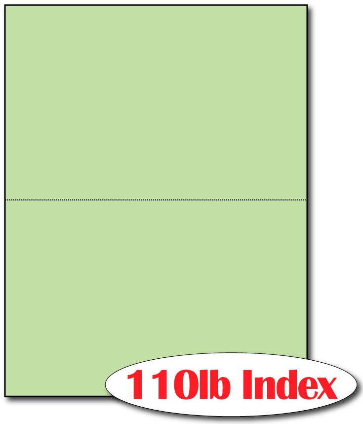 "2 Microperforated Index Green Postcards on an 8 1/2"" x 11"" Sheet."