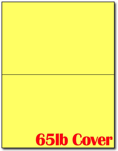 "65 lb 2-Up Bright Yellow Jumbo Postcards, measure (5 1/2"" x 8 1/2"") , compatible  with copier, Inkjet and laser, Matte Both sides"