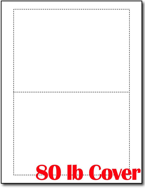 "80lb Microperforated Blank White Postcards measure 5"" x 7""."