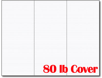 3-up 8 1/2 x 3 2/3 Cards 80lb Cover White Linen